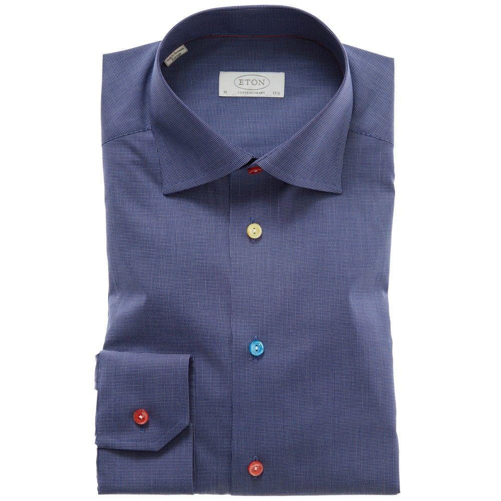 Navy Multi Colour Button Mens Formal Shirt Eton Uk Sewing Ideas