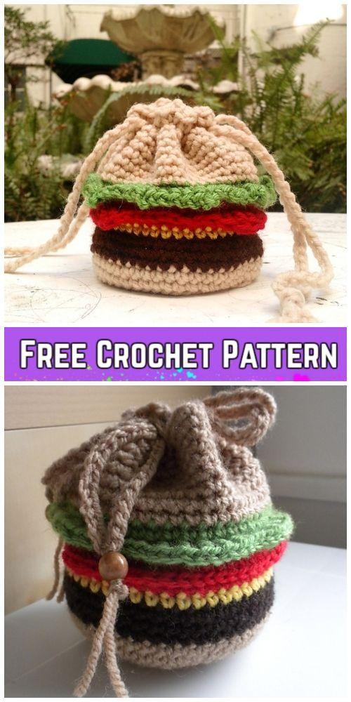 Crochet Burger Drawstring Bag Free Crochet Patterns   Do It Yourself ...