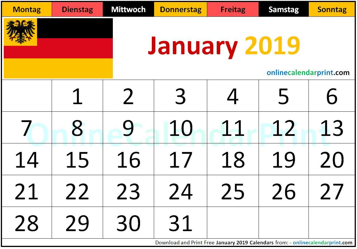 January 2019 Kalender Deutschland Monthly Calendar Template