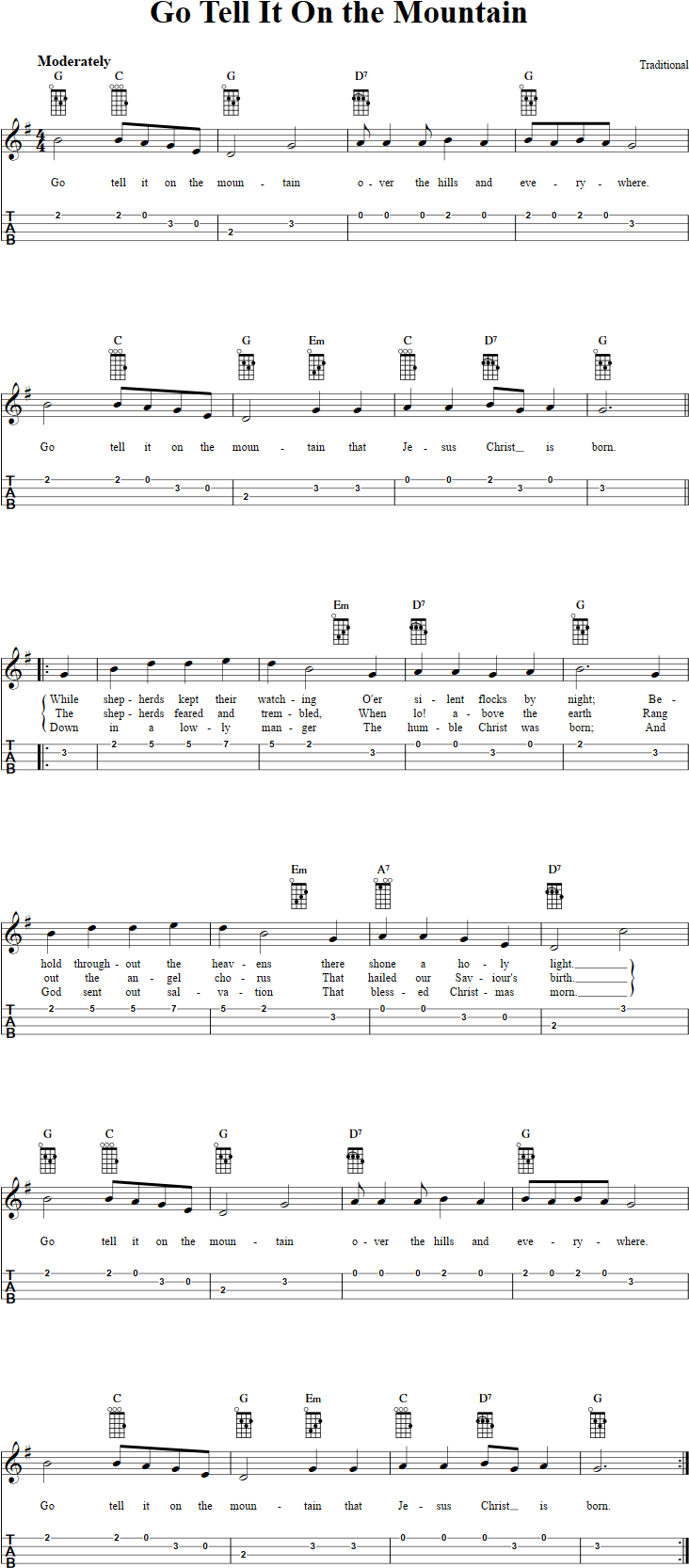 Go Tell It on the Mountain Chords, Sheet Music and Tab for ...