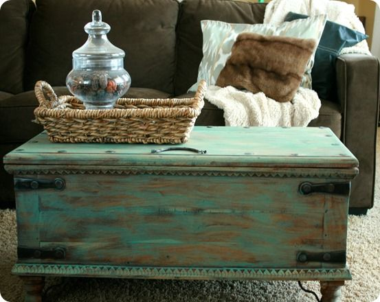 Aqua Painted Trunk Coffee Table Inspired By A Pottery Barn