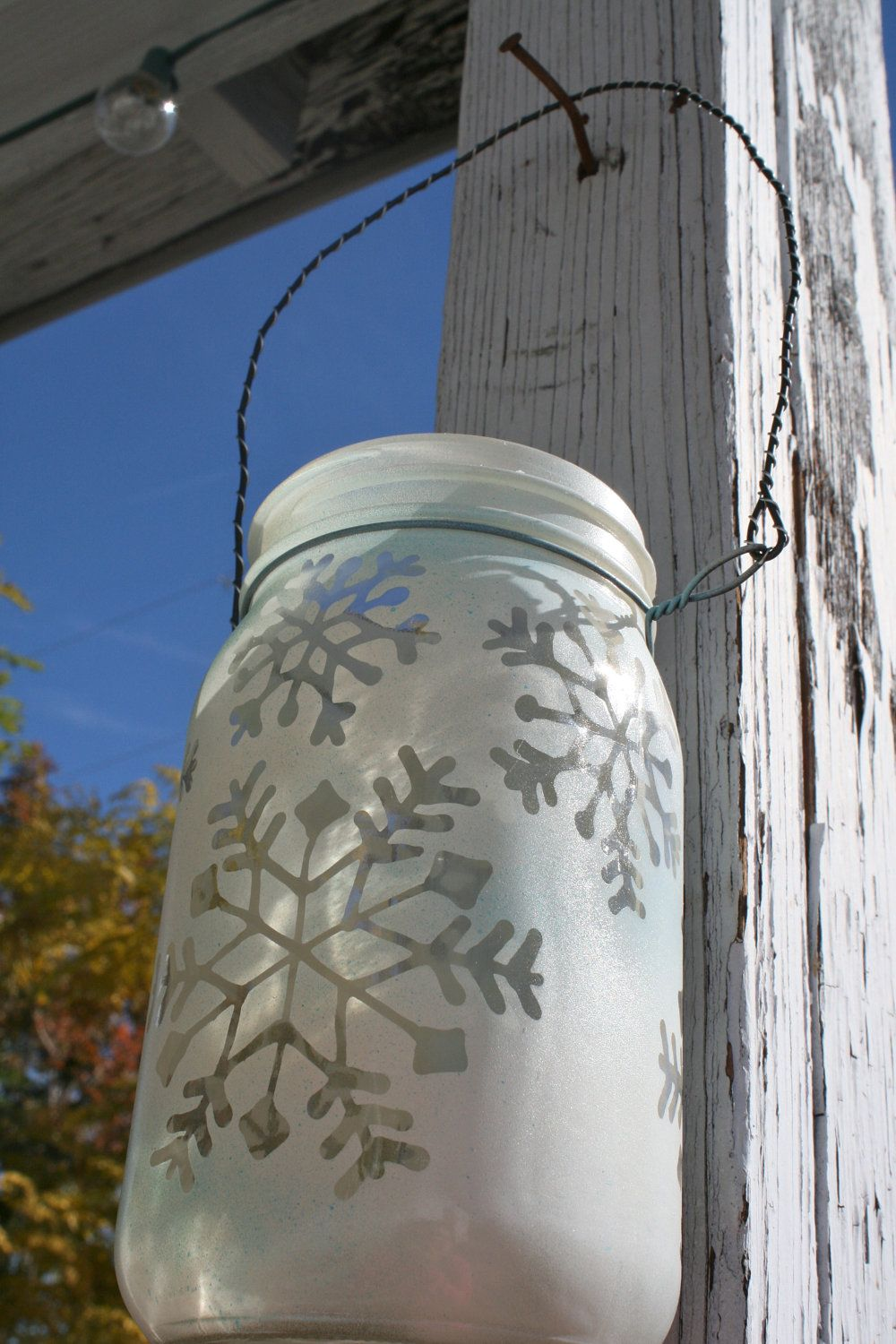 Mason Jar Lantern Snowflakes Christmas And Winter