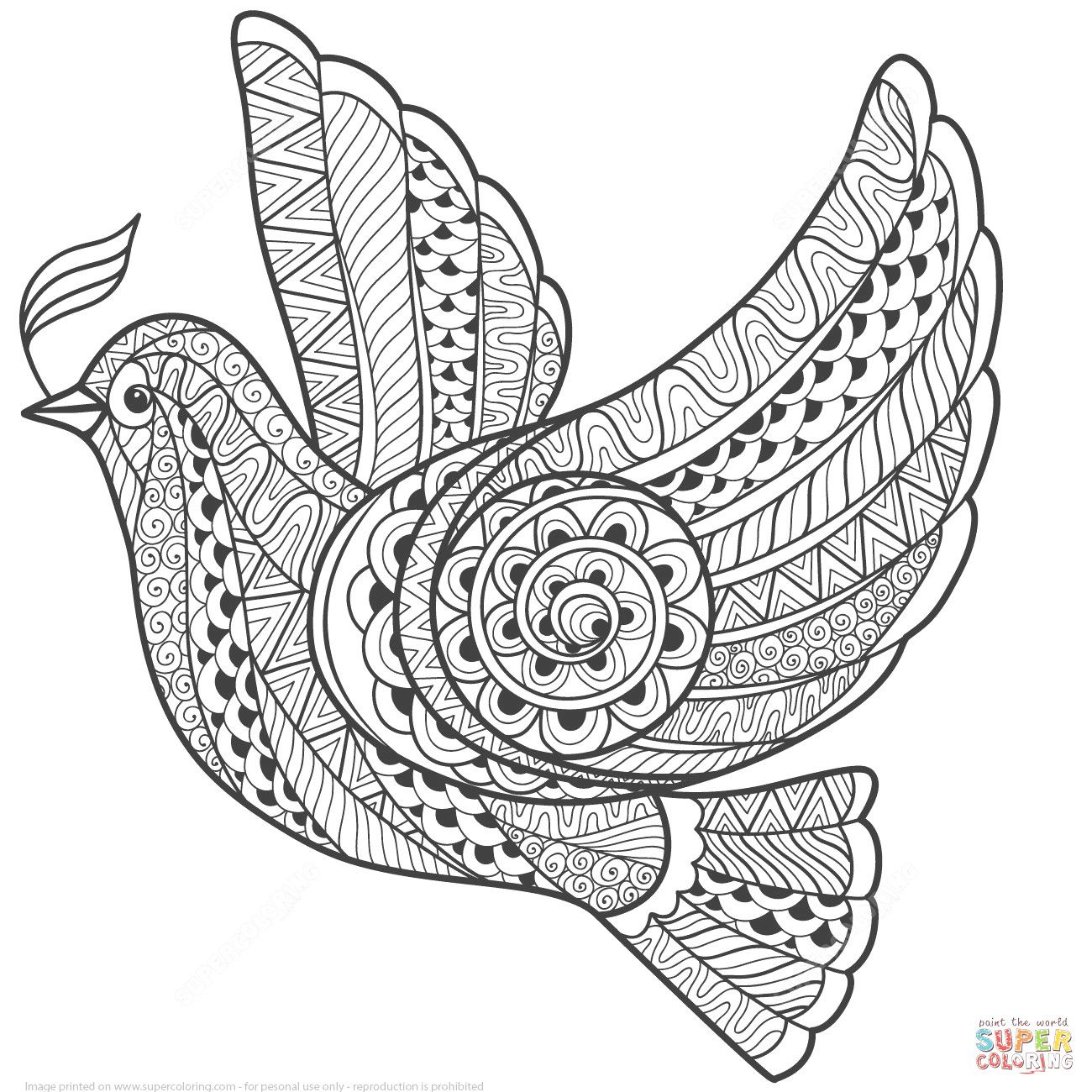 Zentangle Dove Of Peace Coloring Page Pages Bird Coloring Pages
