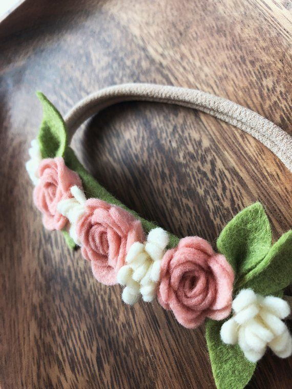 Dainty Blush and Cream Felt Flower Headband, Girl's Flower Crown, Photo Prop #feltflowerheadbands