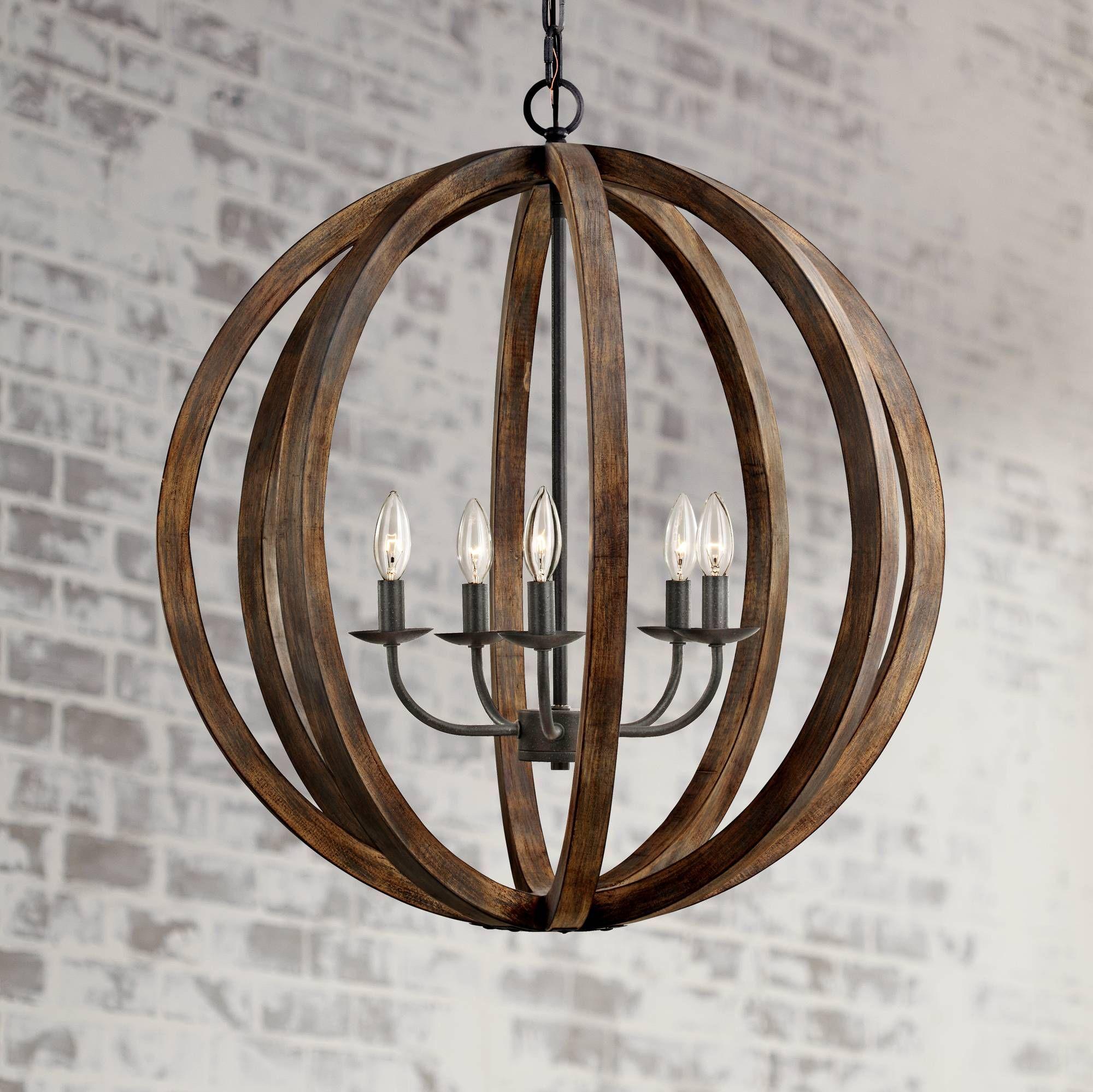 """Feiss Allier 26""""W Weathered Oak Wood Orb Pendant Light"""