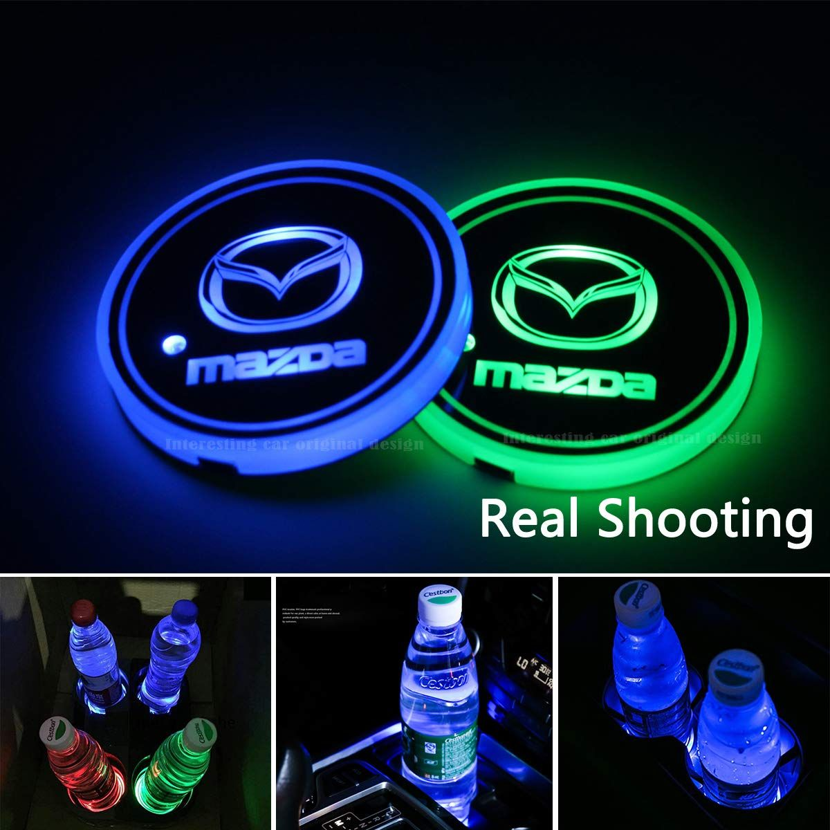 2pcs Led Car Cup Holder Lights 7 Colors Changing Usb Charging Mat Luminescent Cup Pad Led Interior Atmosphere Car Cup Holder Cup Holder Cool Car Accessories