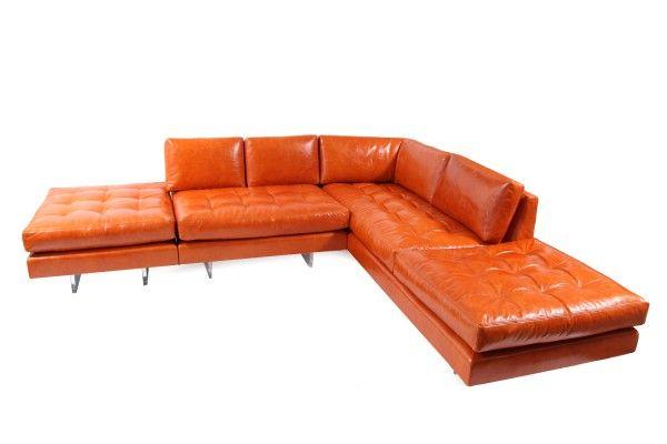 Vladimir Kagan Leather Omnibus Sectional Sofa