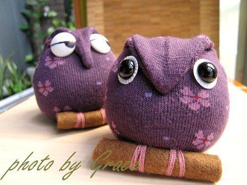 邀您做襪娃 ~ 貓頭鷹的做法(襪娃43+44號) @ 自然瘋.瘋自然手作 :: 痞客邦 ::   Sock dolls. Sock toys. Sock animals