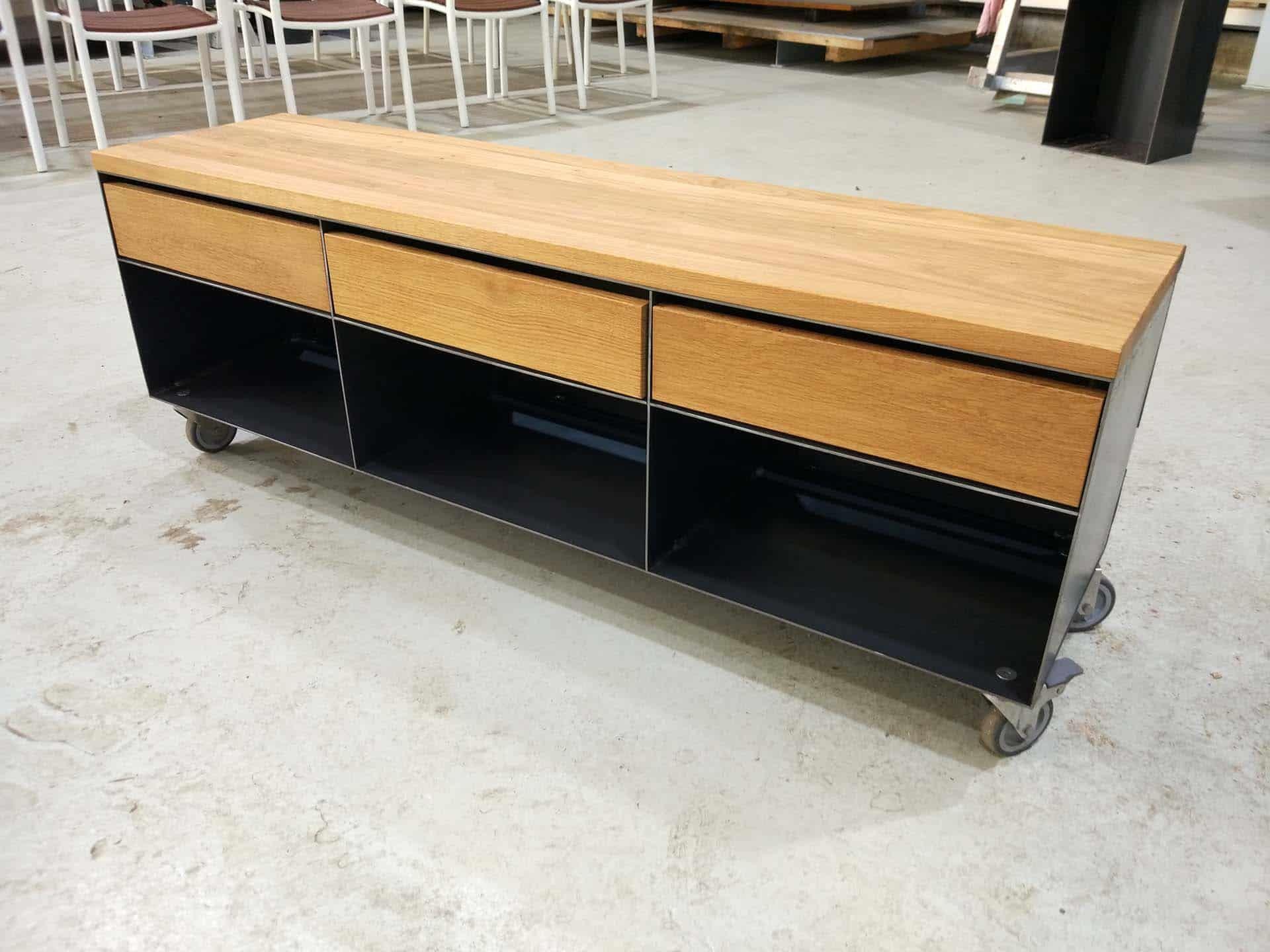 lowboard sideboard classic 003 (schwarz, grau, eiche, metall