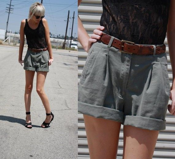 48 HR SALE Vintage Pleated High Waisted Olive Green Khaki Shorts ...