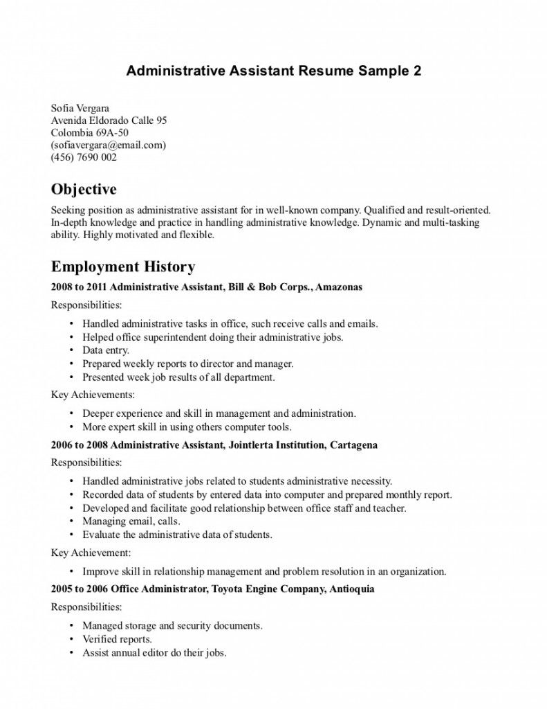 Administrative Assistant Resume Template Office Assistant Resume Objective  Resume Samples  Pinterest