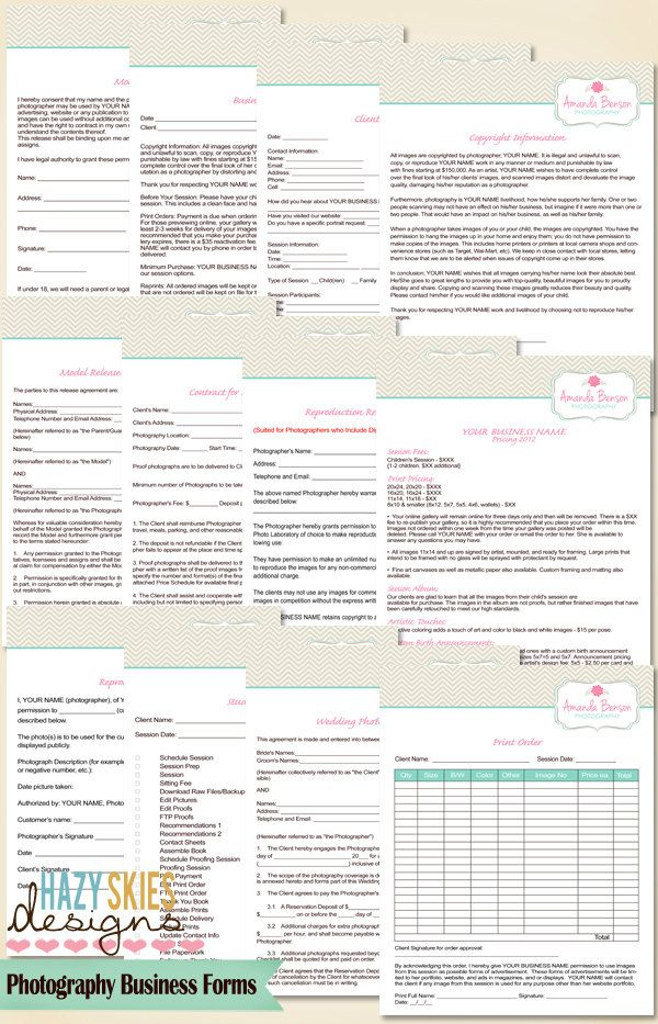 12 Photography Business Forms Kit - Contract, Model Releases and - reservation forms in pdf