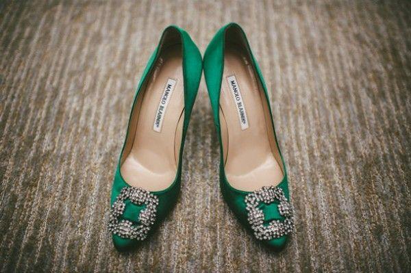manolo blahnik green shoes