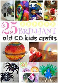 25 Brilliant Recycled CD Kid Crafts #recycledcd These recycled cd crafts for kids are brilliant! #recycledcd - TRUVA professional Blog #recycledcd
