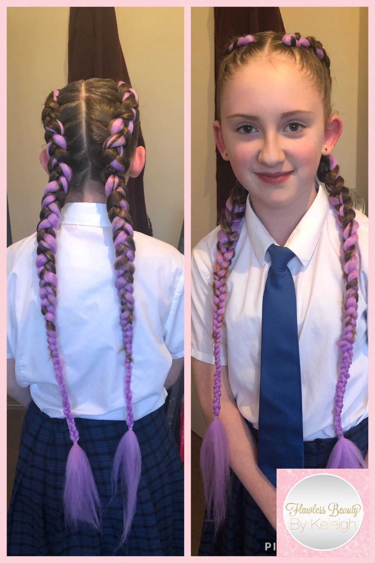 Mermaid Braids With Purple Braid Extensions Added Mermaid Braid Braid In Hair Extensions Braids With Extensions