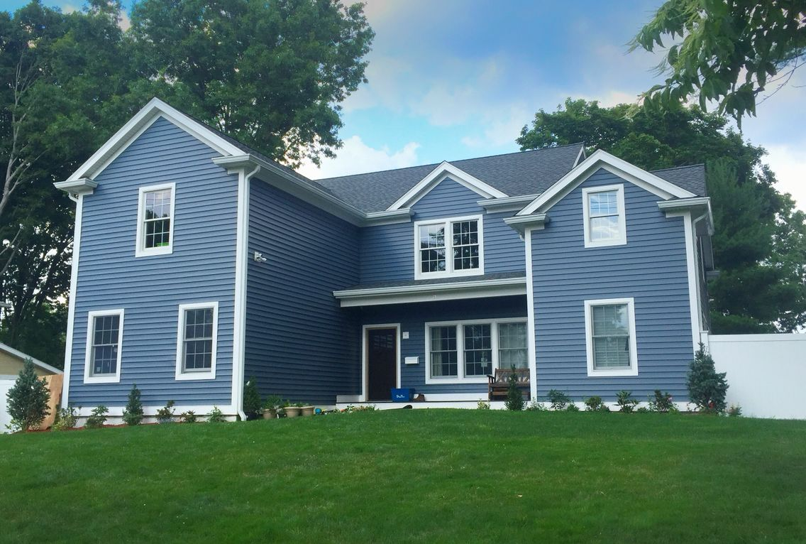 Certainteed Pacific Blue Double Five Siding Azek Trim Exterior House Siding Exterior House Remodel House Siding
