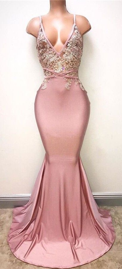 Sexy Spaghettis Straps Lace Appliques Pearl Pink Mermaid Prom ...