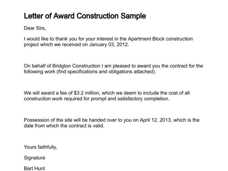 Contract Award Letter Sample