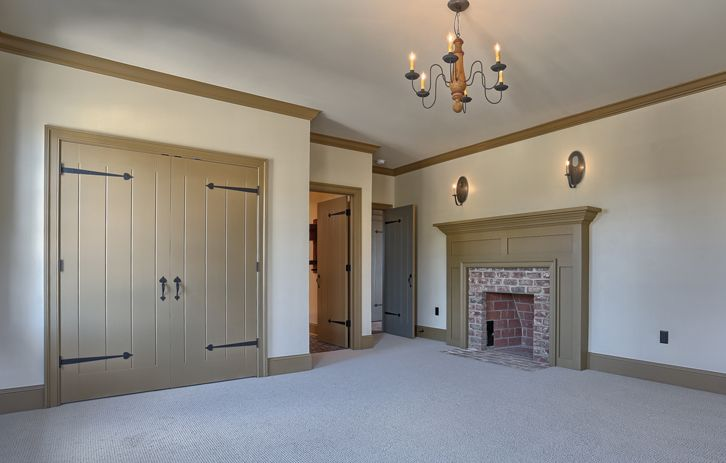 Bedroom With Fireplace, Closet Doors