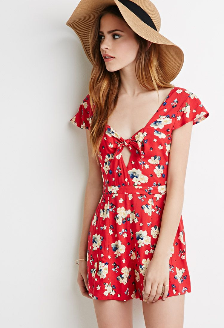 fe802755a338 Self-Tie Floral Romper