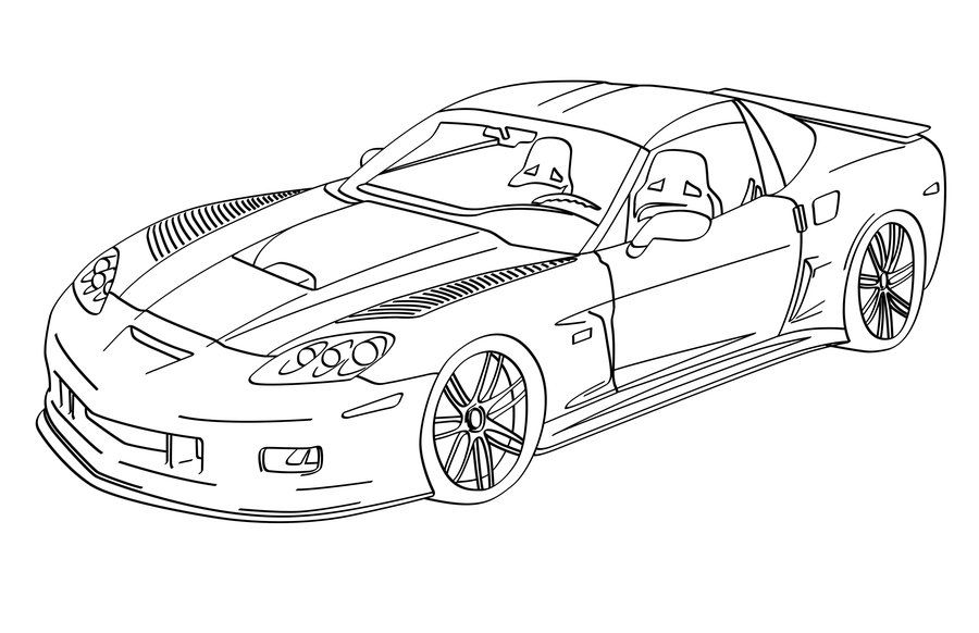 print a drawing of 2016 corvette corvette c6rs lineart