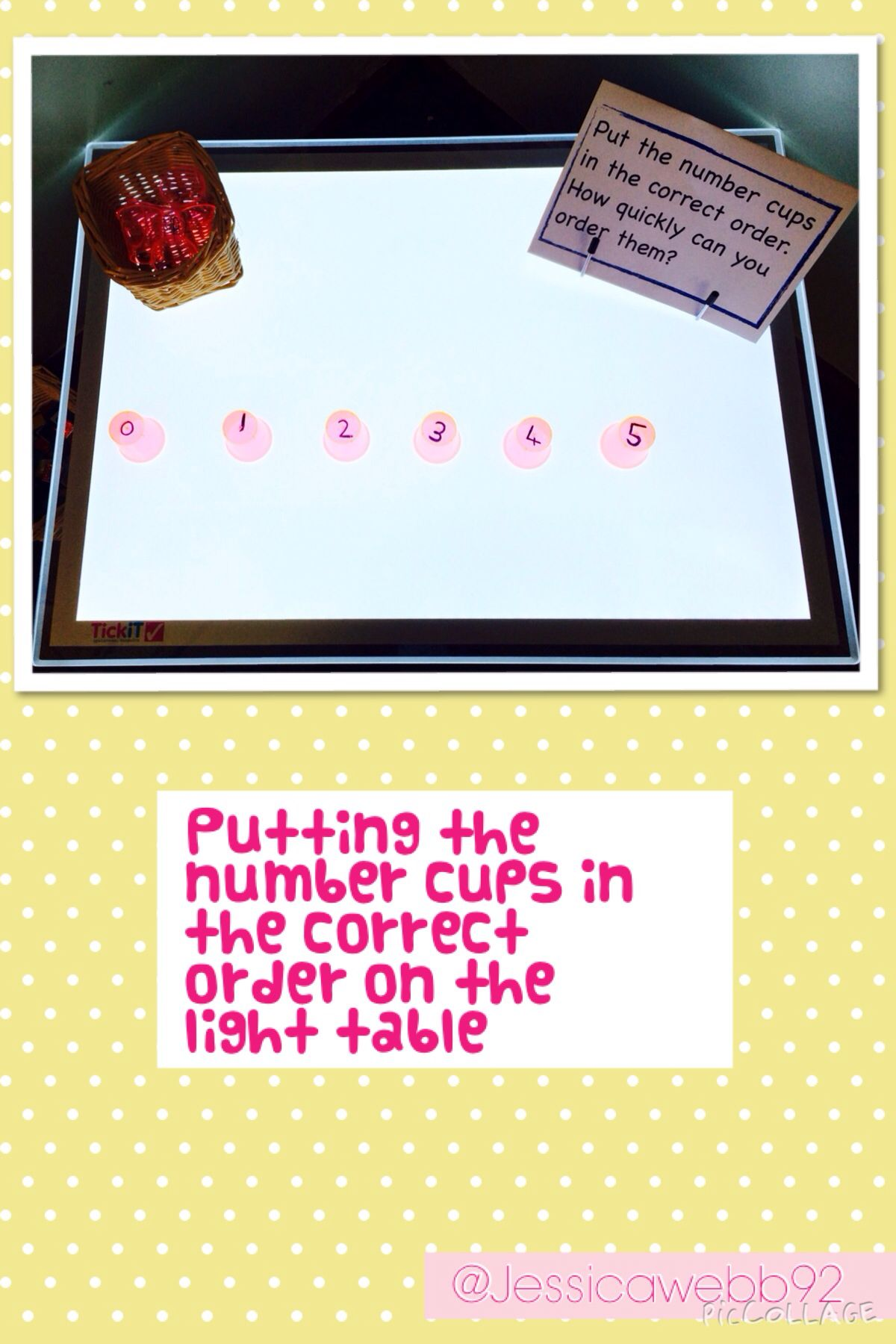 Ordering The Number Cups On The Light Table
