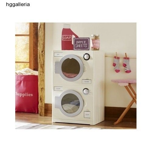 Wooden Retro Kids Indoor House Play Laundry Washer Dryer Portable