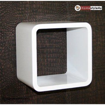 homestyle4u retro cube design wandregal wandboard regal w rfel 1er wei k che. Black Bedroom Furniture Sets. Home Design Ideas