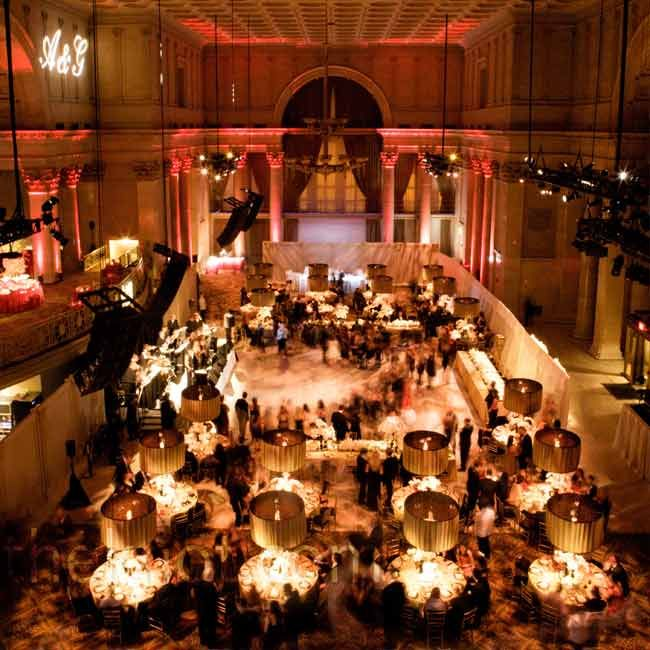 Black And Gold Wedding Reception Decorations: Black & Gold With Red Uplighting