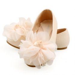 Flower Girl Leatherette Flats with Flower Embellishment