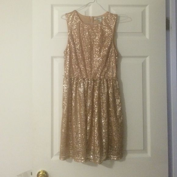 Gold sequin cocktail dress Sinched at the waist. Missing original belt. Zipper back. Nude under layer with sheer gold sequin over lay. Forever 21 Dresses
