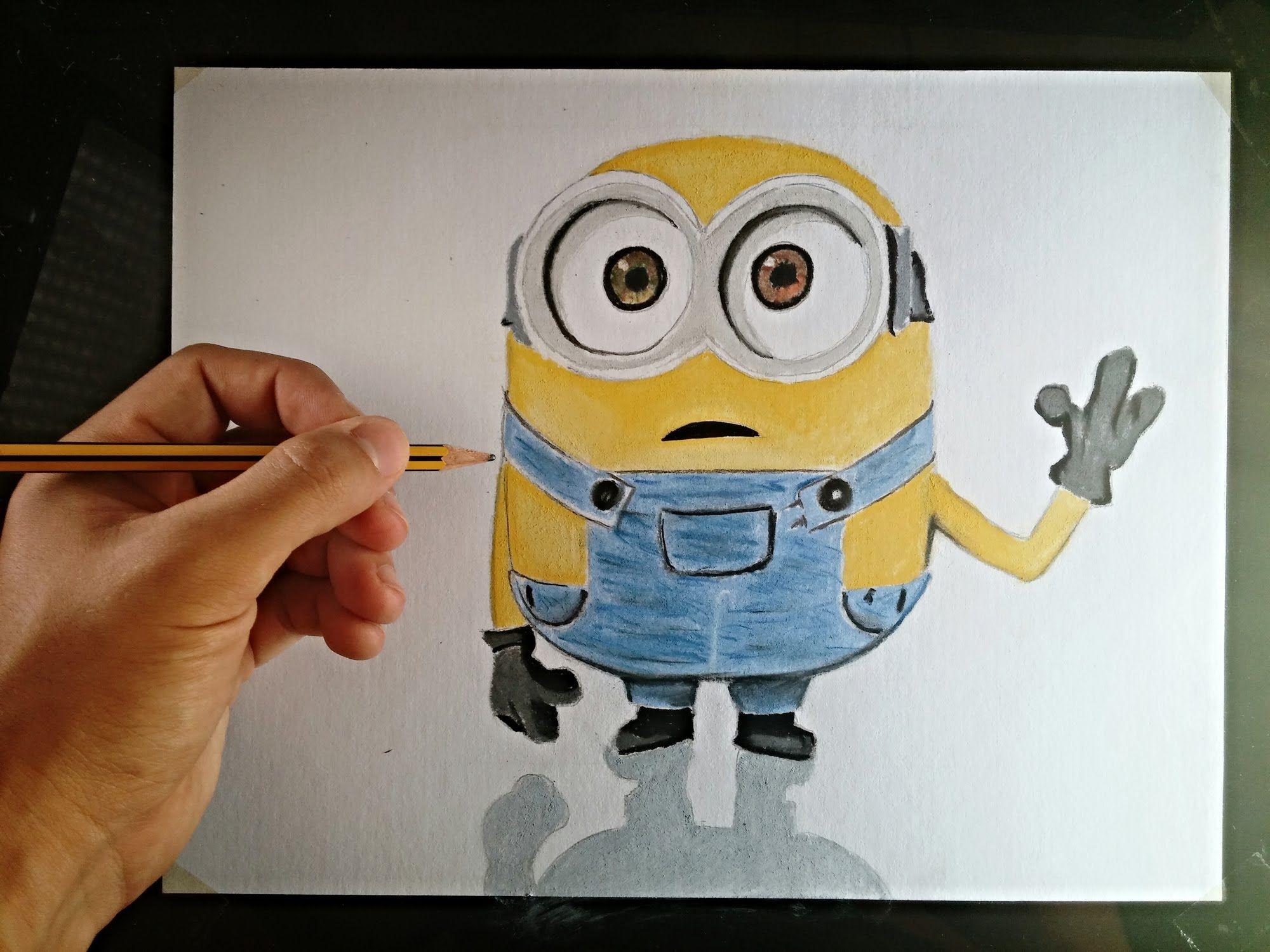 Cómo dibujar un Minion con lápices de colores | How to draw a Minion ...