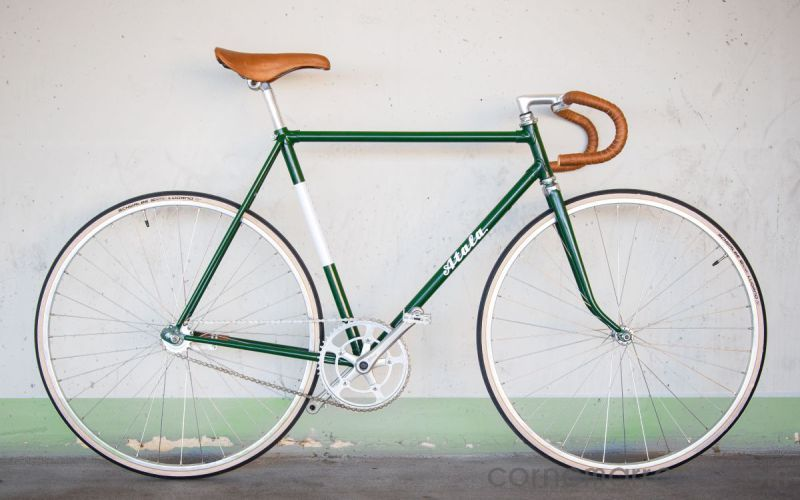 atala single speed dark green leather custom city bike retro vintage italian steep frame bicycle oldschool