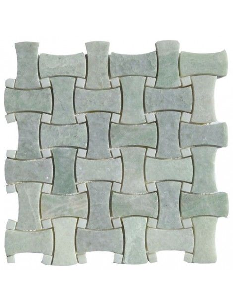 Ming Green Marble Polished Basketweave Curved Dog Bone Pattern Mosaic Tile On 12x12 Mesh Sheet Ming Green Basket Weave Tile Green Mosaic Tiles Green Marble