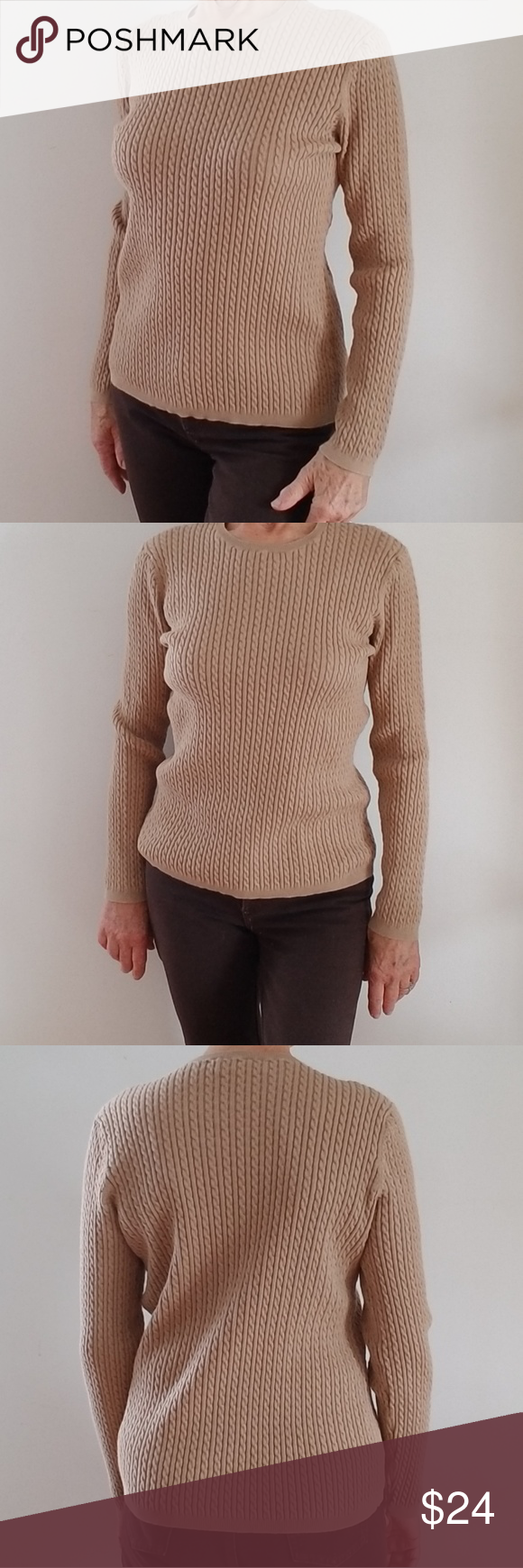 Jones New York Sport Caramel Cable Knit Sweater | Cable ...