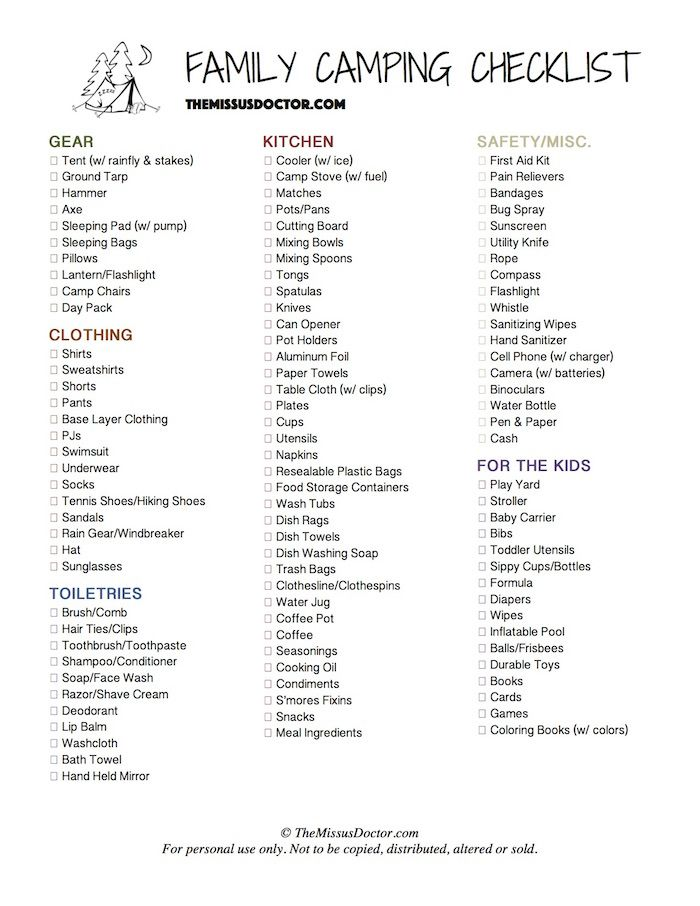 THEMISSUSDOCTOR Family Camping Checklist
