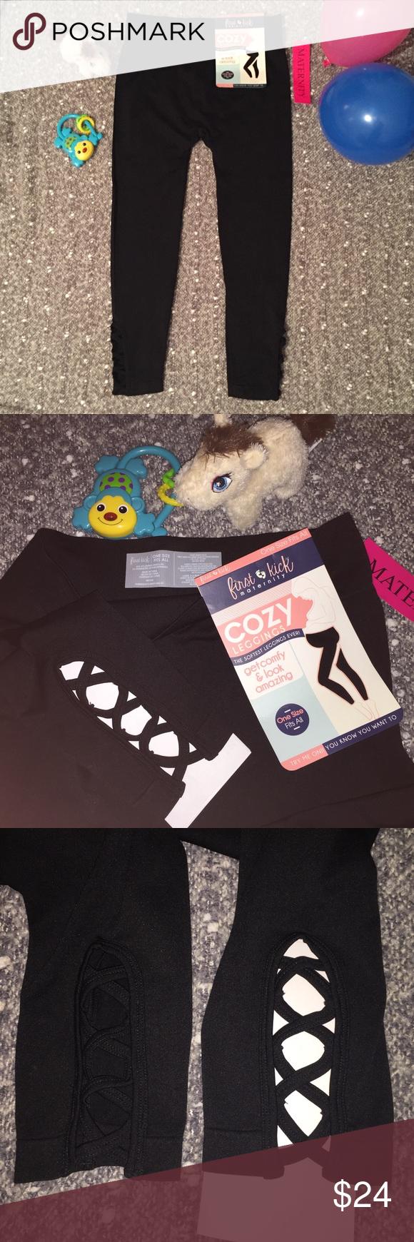 de300e5d4728c Maternity Black Leggings Pants Criss Cross NWT First Kick Maternity Cozy  Leggings 95% Nylon 5