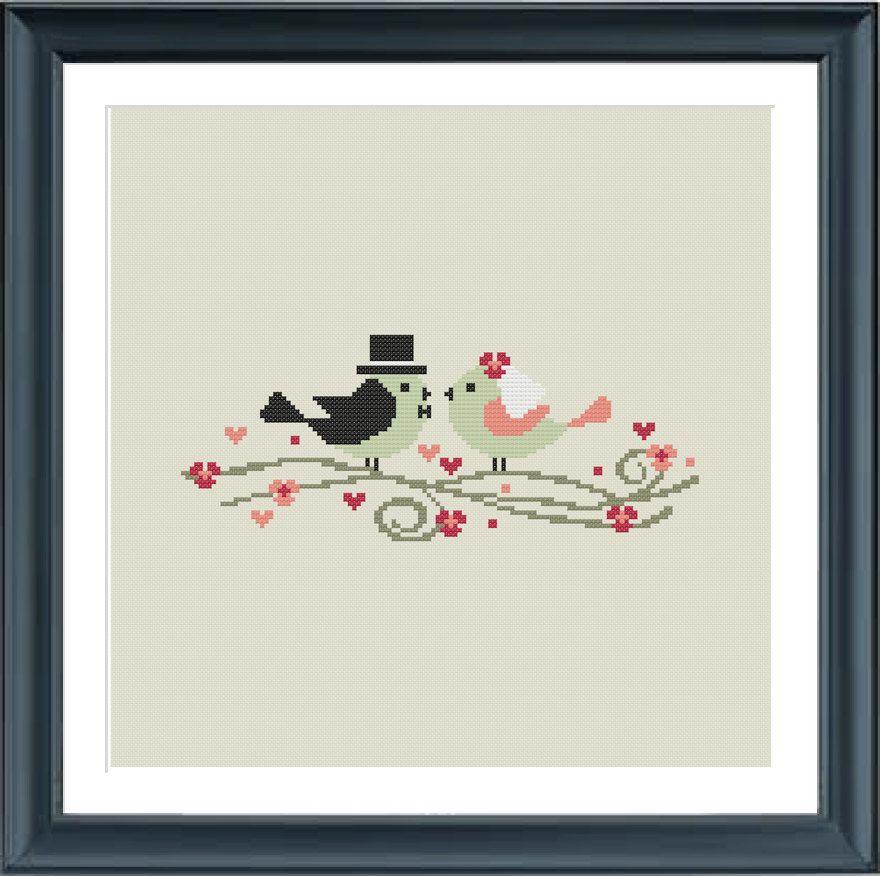 Wedding cross stitch pattern Modern cross stitch pattern | crosstith ...