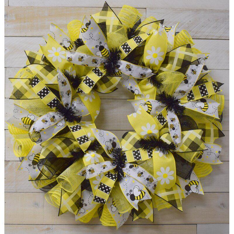 Swarm Bee 24 Polyester Wreath In 2021 Bee Wreath Seasonal Wreaths Diy Bee Decor