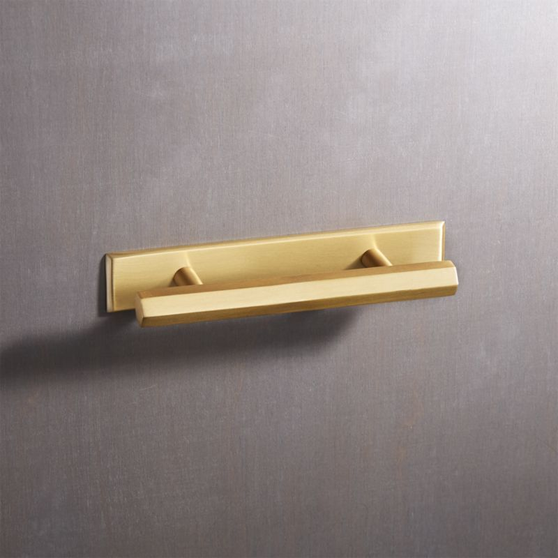 Hex Brushed Brass Handles With Backplate Cb2 Brass Handles Copper Handles Brushed Brass