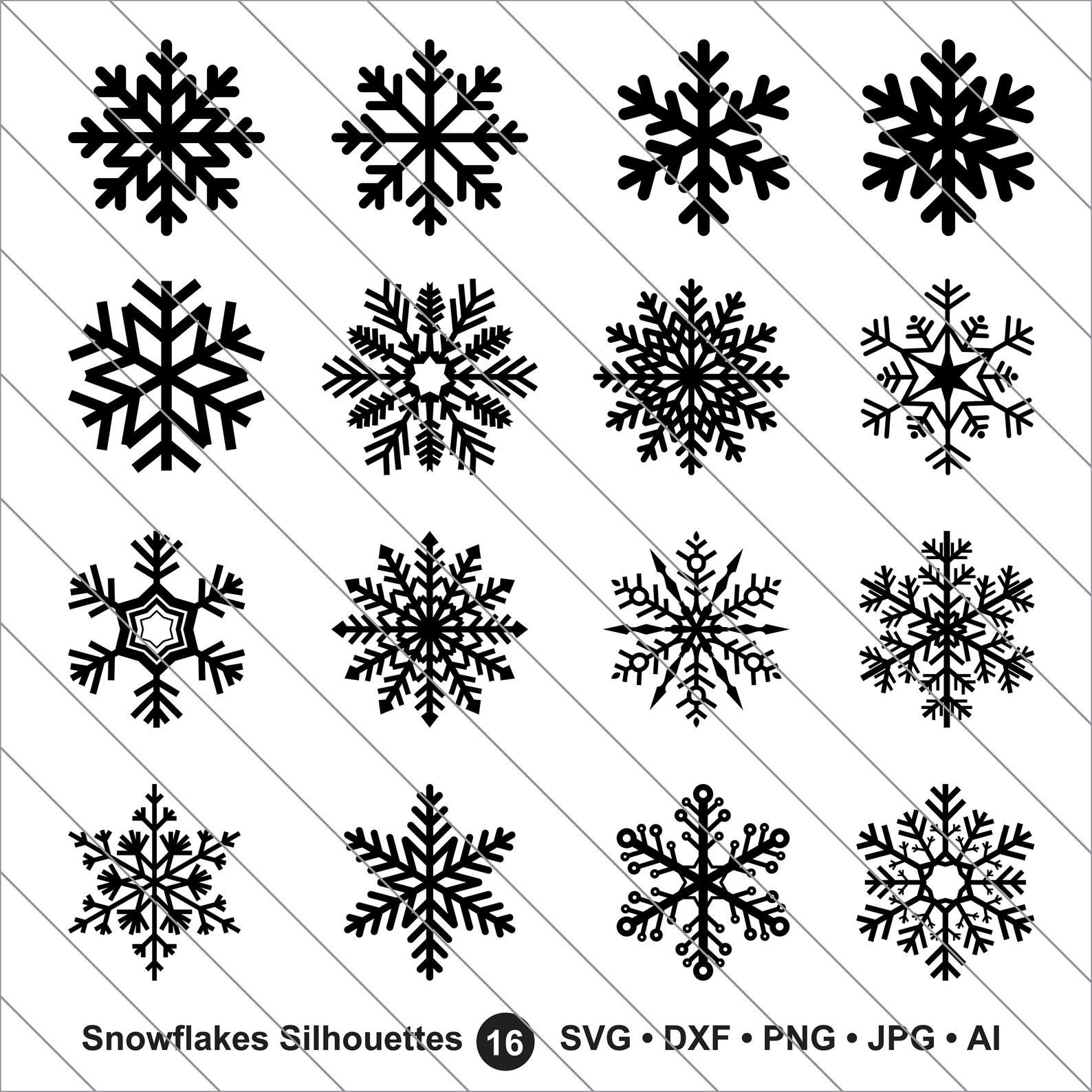 Snowflakes Silhouettes Svgsnowflakes Clipart Bundle Etsy In 2020 Snowflake Silhouette Snowflake Clipart Snowflake Images