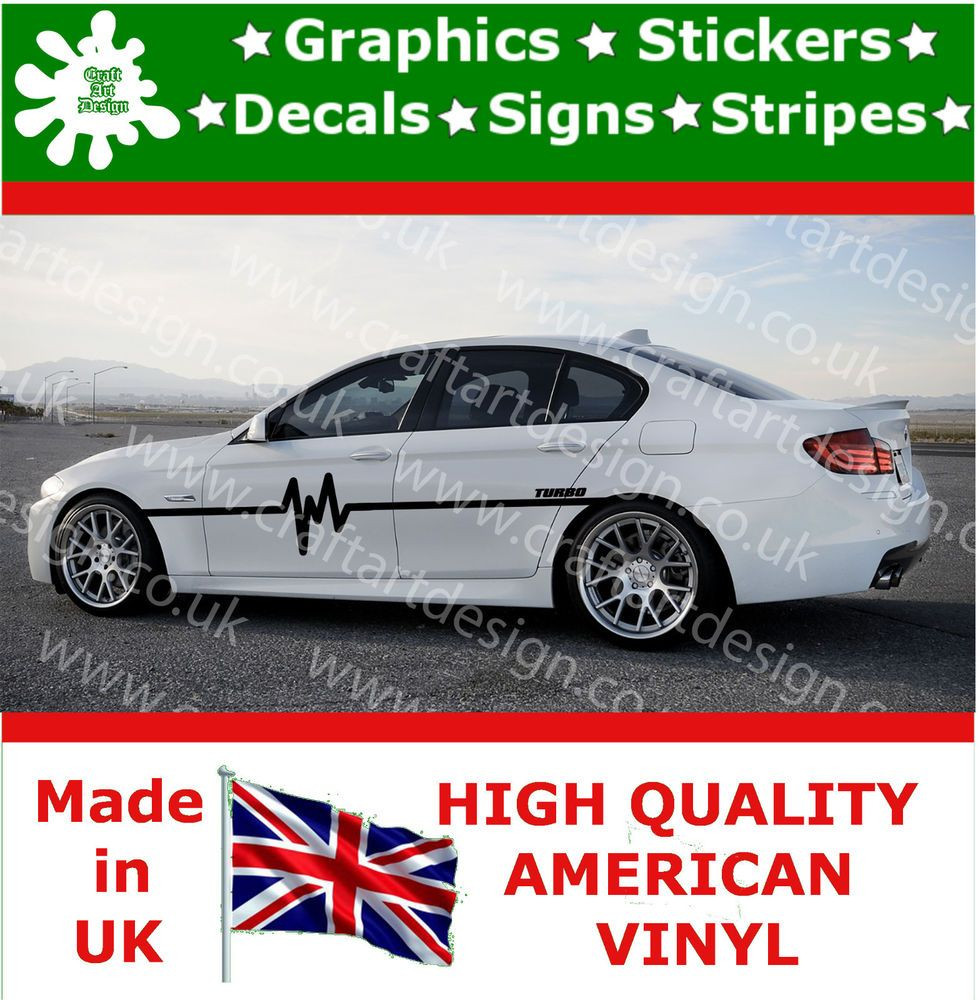 Race car sticker design - Bmw Turbo 2x Large Side Racing Stripe Kit Car Stickers Vinyl Race Car Decals 6
