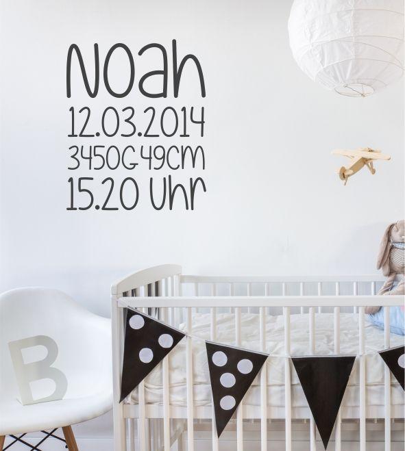 Vintage Geburtsdaten Name Geburtstag individuell personalisiert Kinderzimmer Baby Wandtattoo