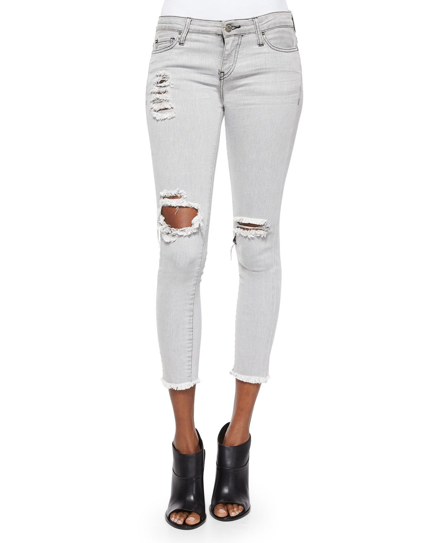 Jarod Distressed & Ripped Denim Cropped Jeans, Women's, Size: 25, Grey Used - IRO