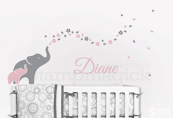 Elephants Wall Decal Nursery Decor Elephant Art Flowers Baby Nam