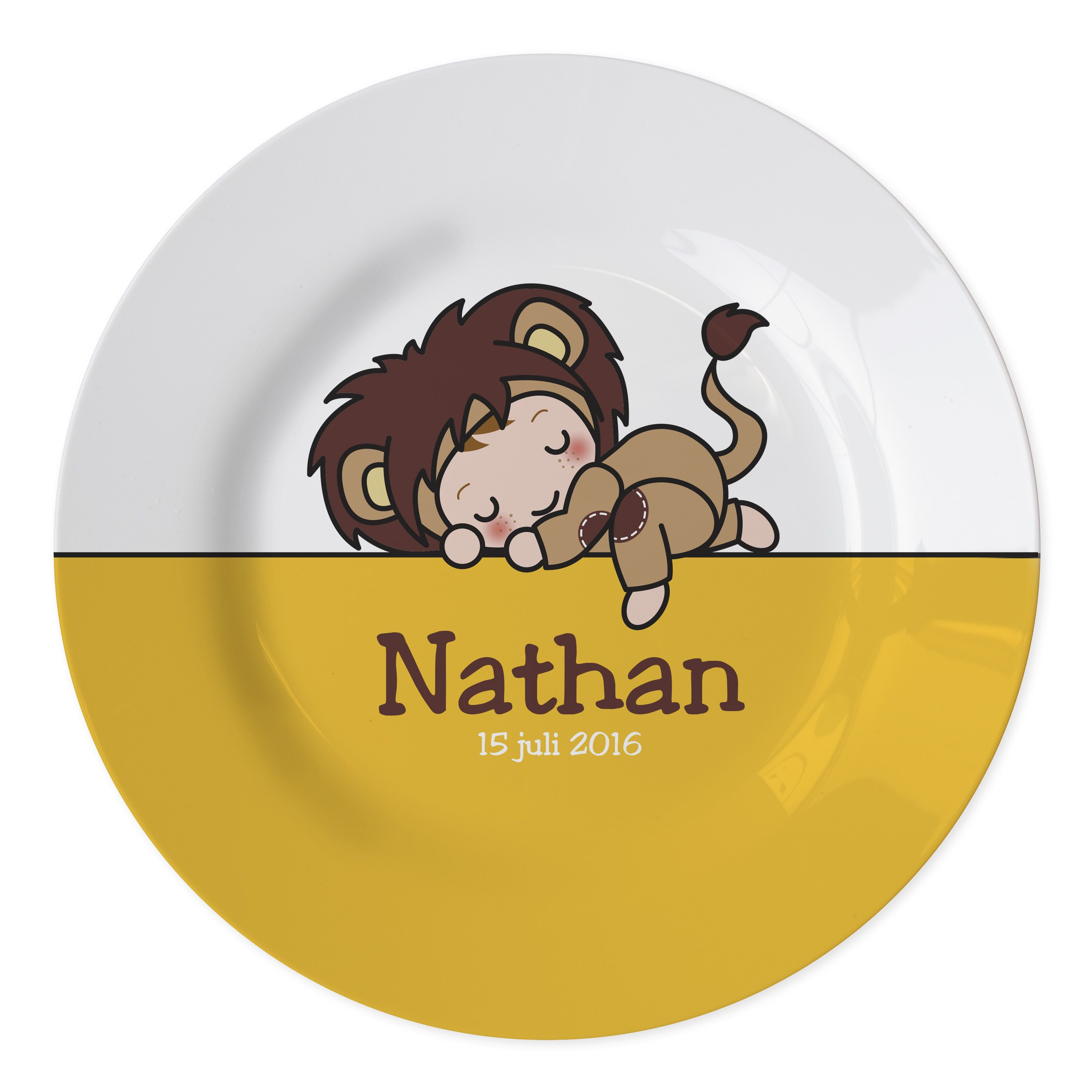 plate with name and date of birth of the new born perfect baby gift