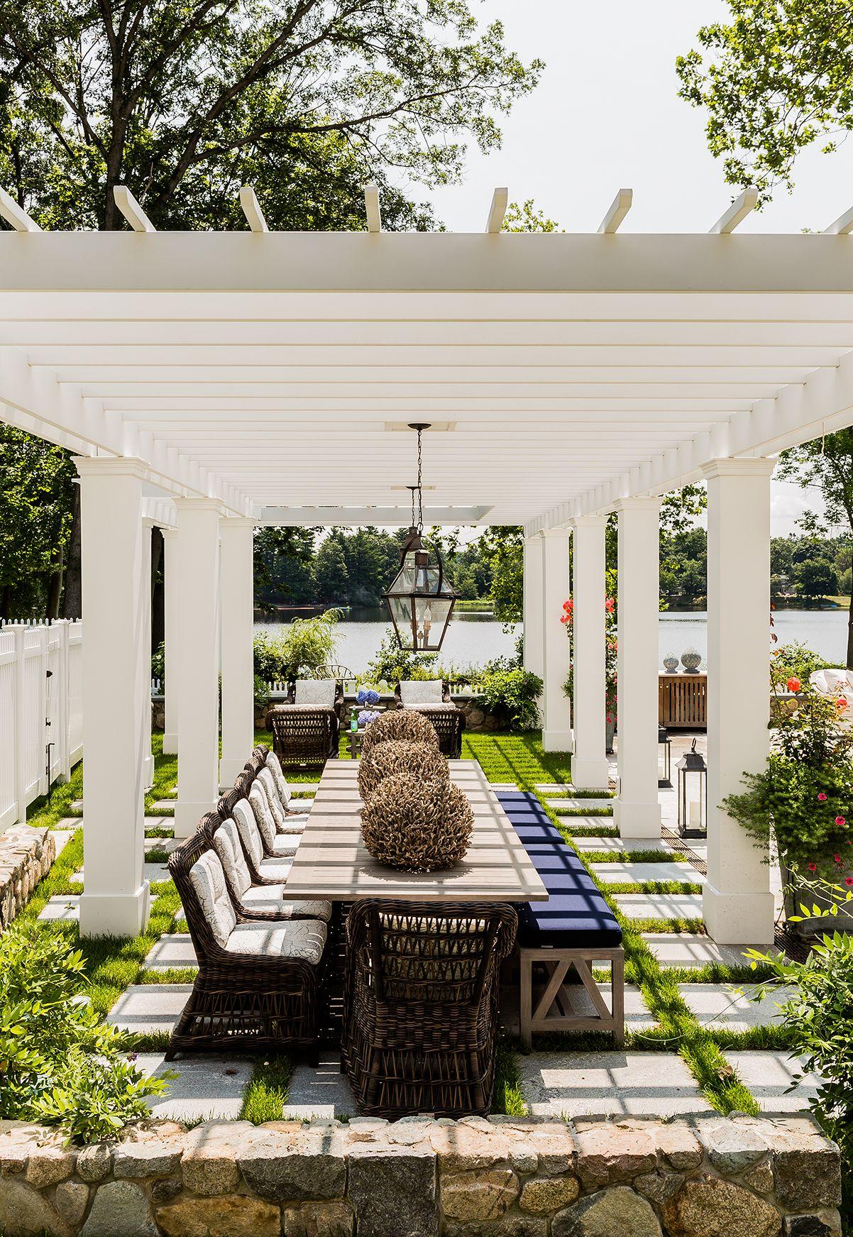 lake house vacation house white pergola backyard design ideas