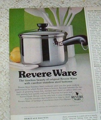 1978 vintage ad - Revere Ware cookware stainless steel VINTAGE AD