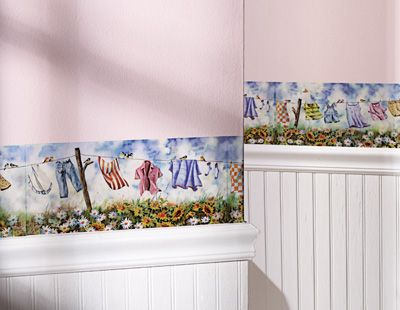 Country Clothesline Laundry Room Wall Border Decals Set Of 8