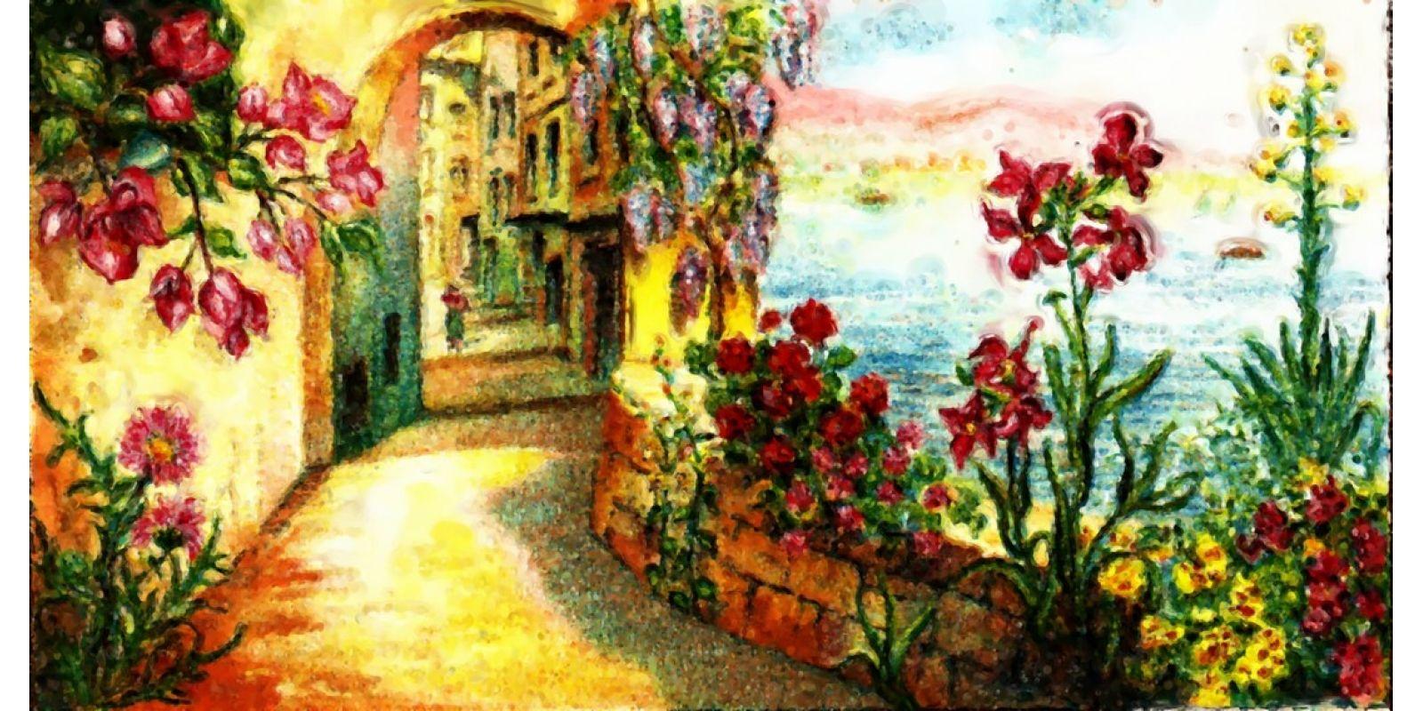 landscape sea Street flowers